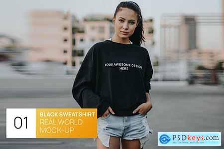 Woman in Black Sweatshirt Real World Mock-up