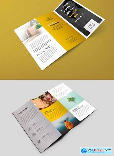 Minimal Trifold Brochure with Yellow Accents 357224338