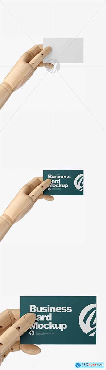 Wooden Hand With Business Card Mockup 60218