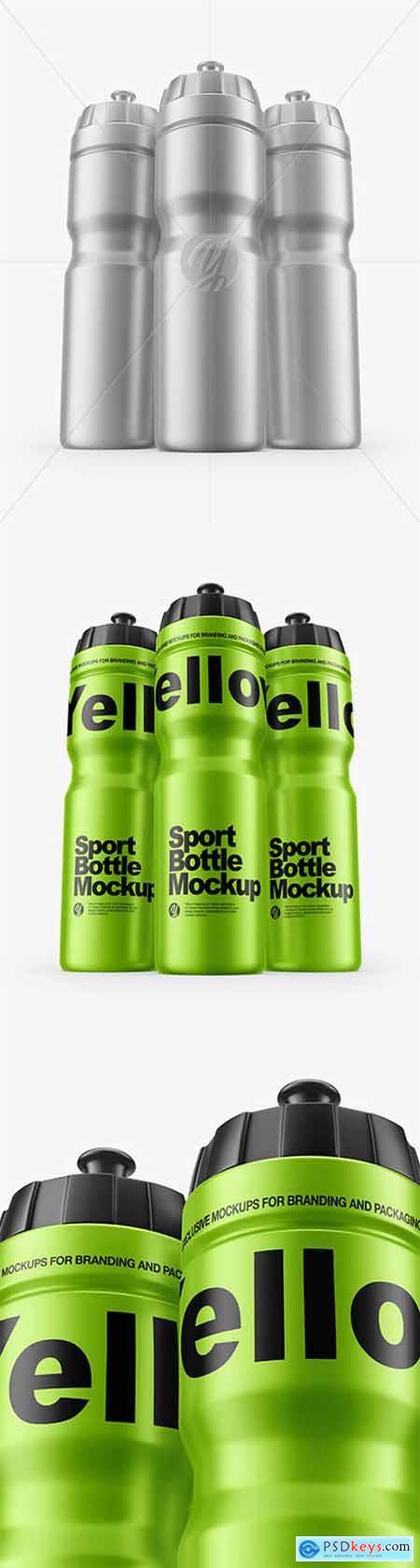 Three Matte Metallic Sport Bottles Mockup 60137