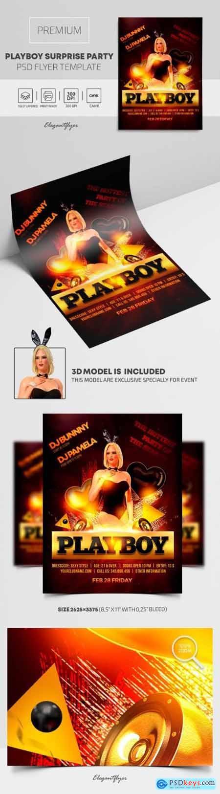 Playboy Surprise Party – Premium PSD Flyer Template