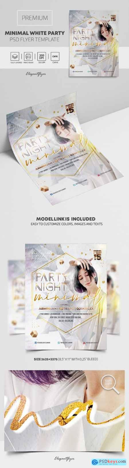 Minimal White Party – Premium PSD Flyer Template