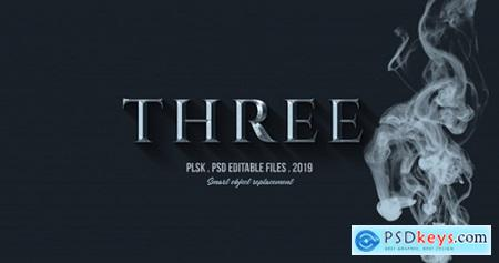 Three 3d text effect with smoke effect Premium Psd