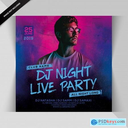 Music fun and model neon flyer creative poster design print ready Premium Psd