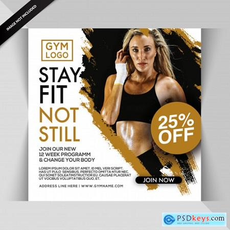 Gym fitness instagram post or square flyer template Premium Psd