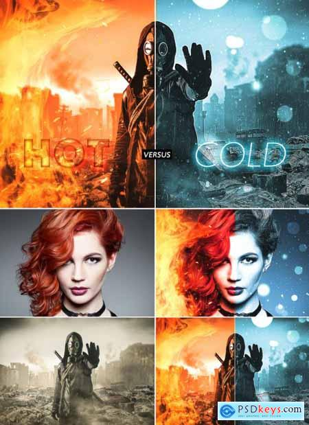 Hot Fire and Freezing Cold Effect Mockup 357902605