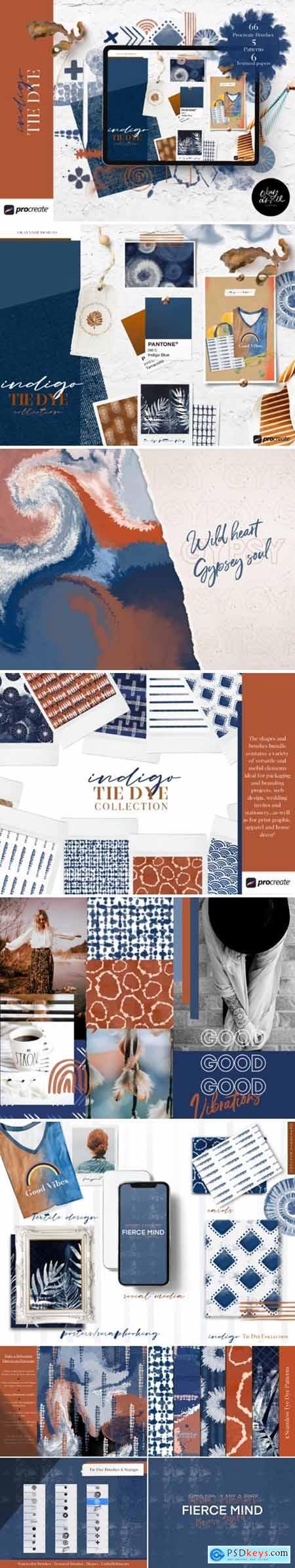 Indigo Tye Dye Brushes for Procreate 4405618