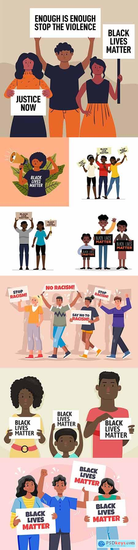 Black life protest against racism matters concept