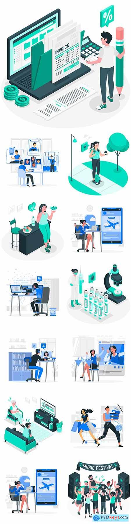 Business people of different professions illustration concept