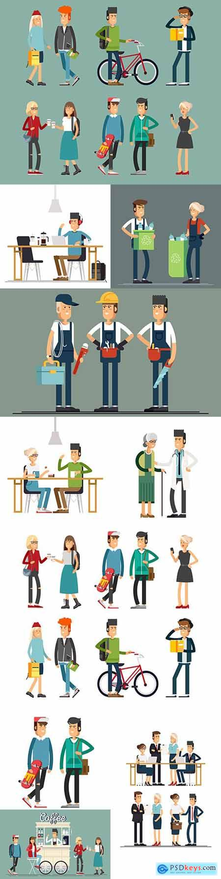 Fashion and modern people of different professions flat illustrations
