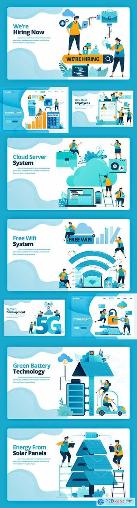 Illustration landing page business people and technology