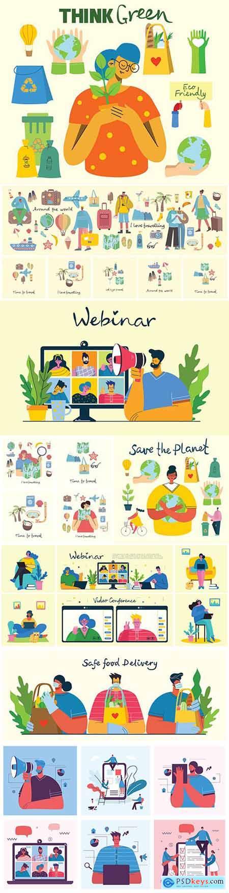 Online webinar concept illustrations and summer holiday journey