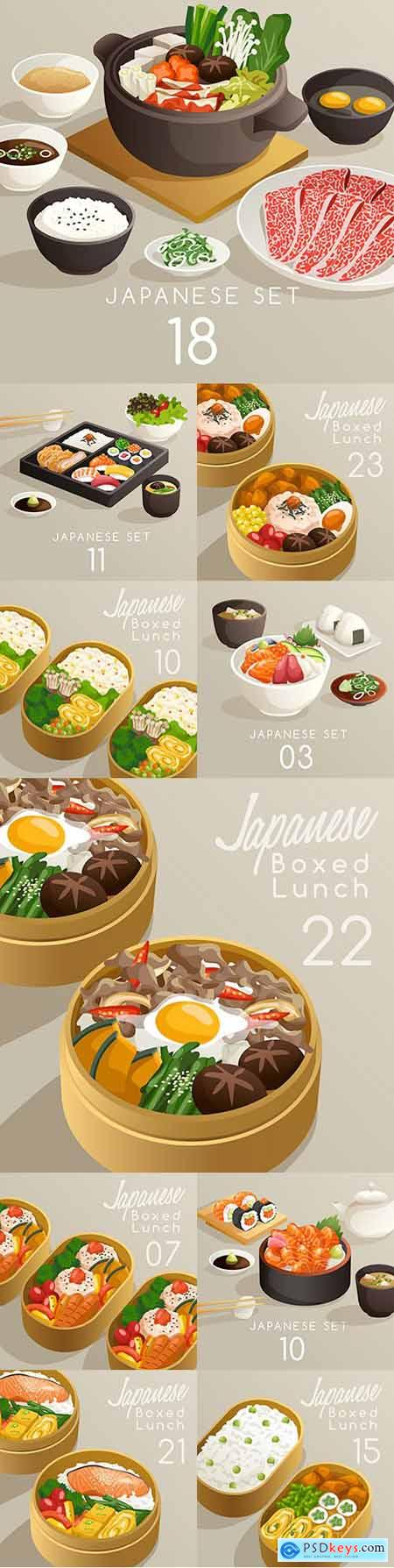 Japanese cuisine and foods in packaging set illustration
