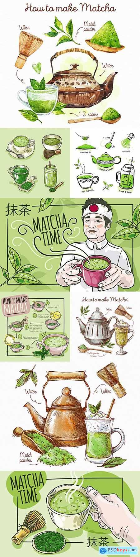 How to brew green tea match collection illustration
