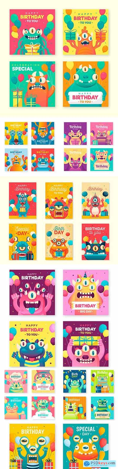 Birthday card for illustrations with funny monsters