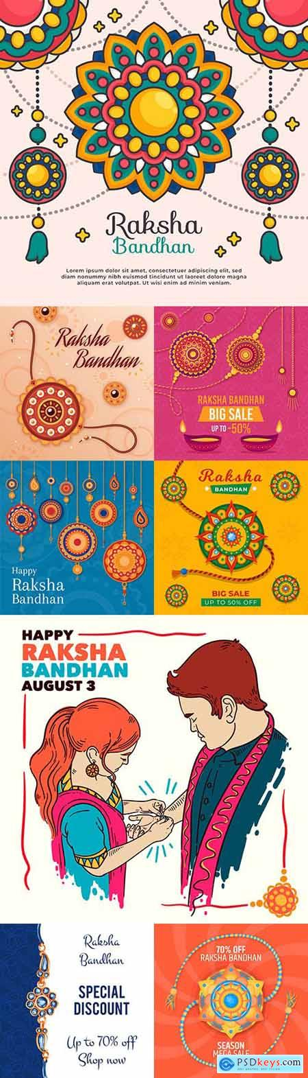 Raksha Bandhan Indian Holiday Flat Design Illustration