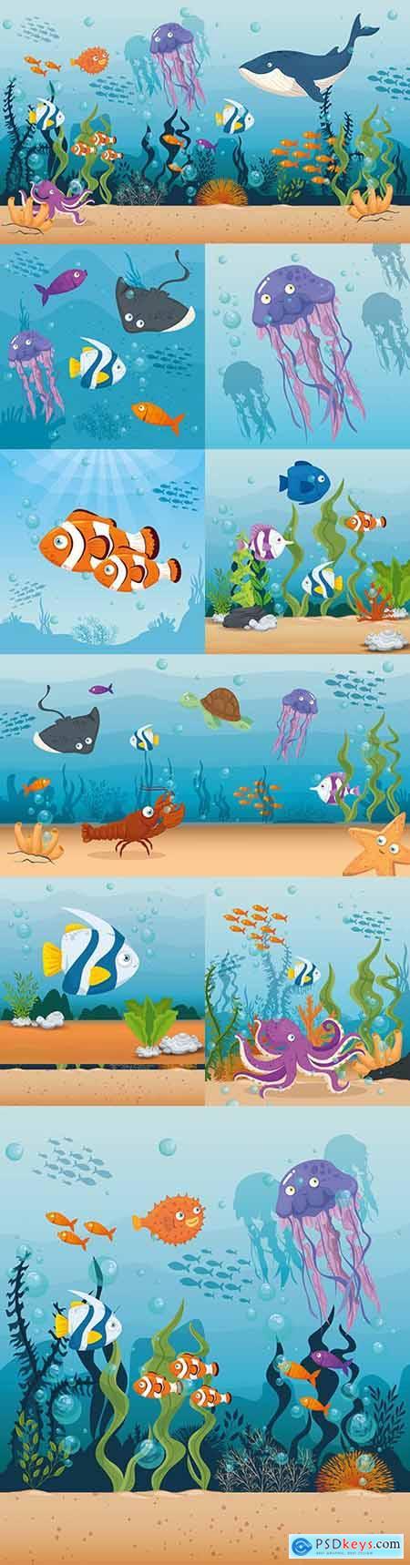 Cute fish and inhabitants of marine world in ocean