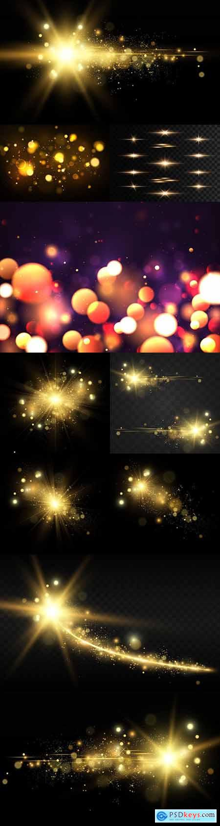 Golden bright star light effect design illustration