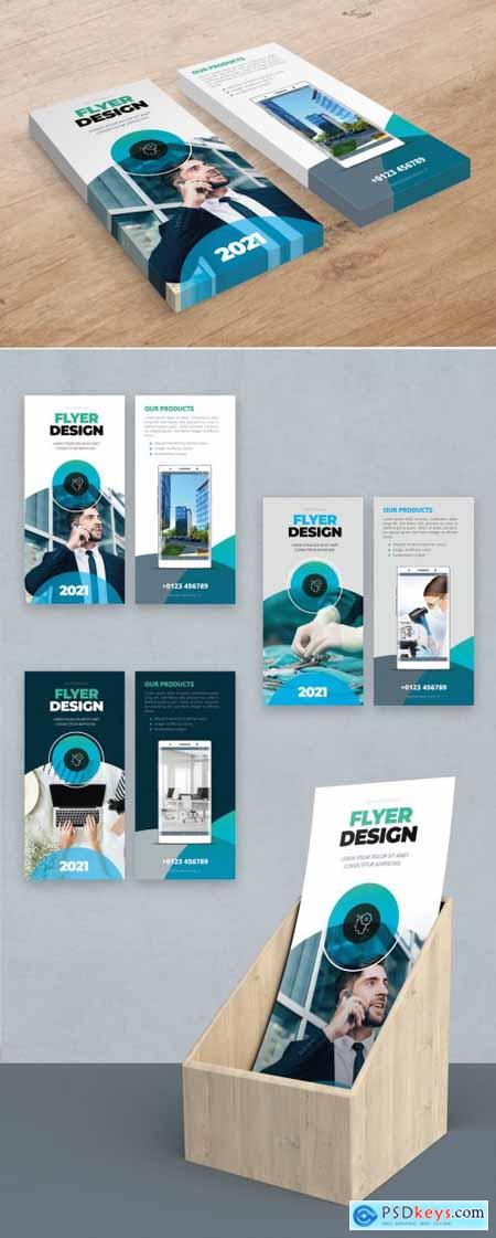 Teal and Blue Gradient DL Flyer Layout with Circles 357916063
