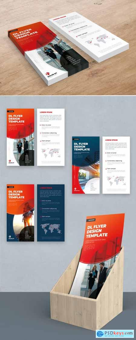Red DL Flyer Layout with Abstract Circles 357915995