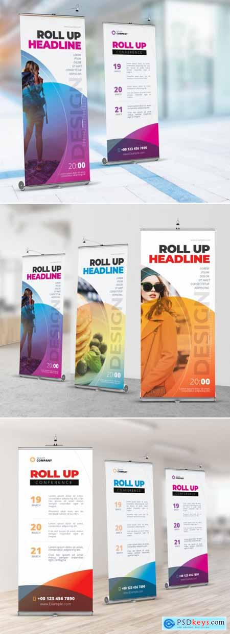 Business Retractable Banner Layout with Abstract Circles 357915930