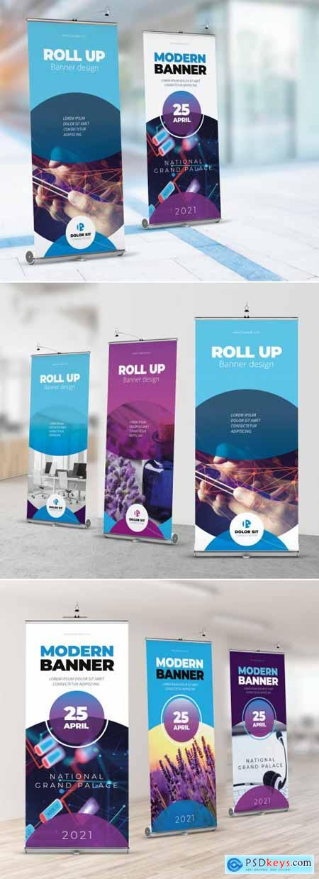 Blue Gradient Roll Up Layout with Abstract Circles 357915898