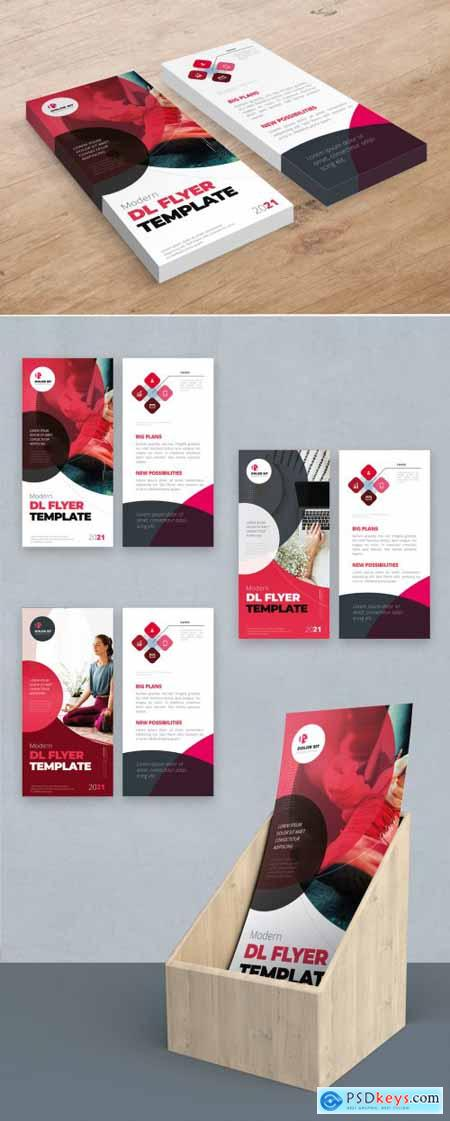 Red Pink Gradient DL Flyer Layout with Circles 357916022