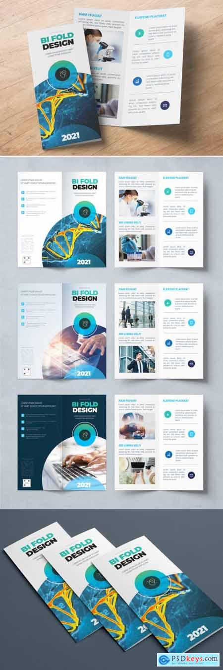 Teal and Blue Gradient Bifold Brochure Layout with Circles 357916044