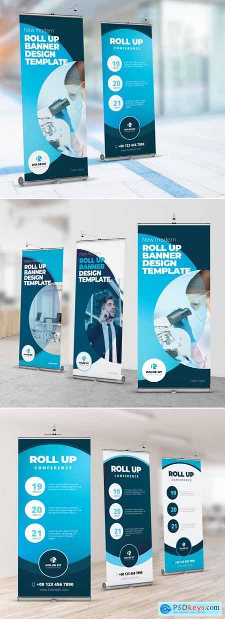 Blue Roll Up Layout with Gradient Circles 357915901