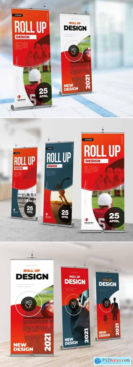 Red Gradient Roll Up Layout with Circles 357916009