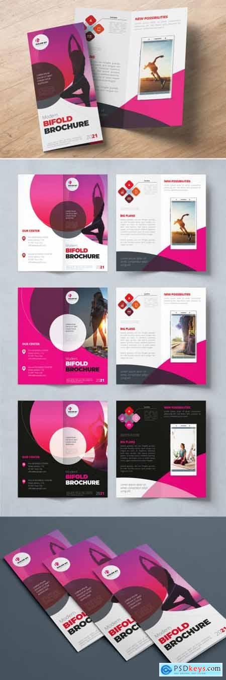 Red and Pink Gradient Bifold Brochure Layout with Circles 357916047