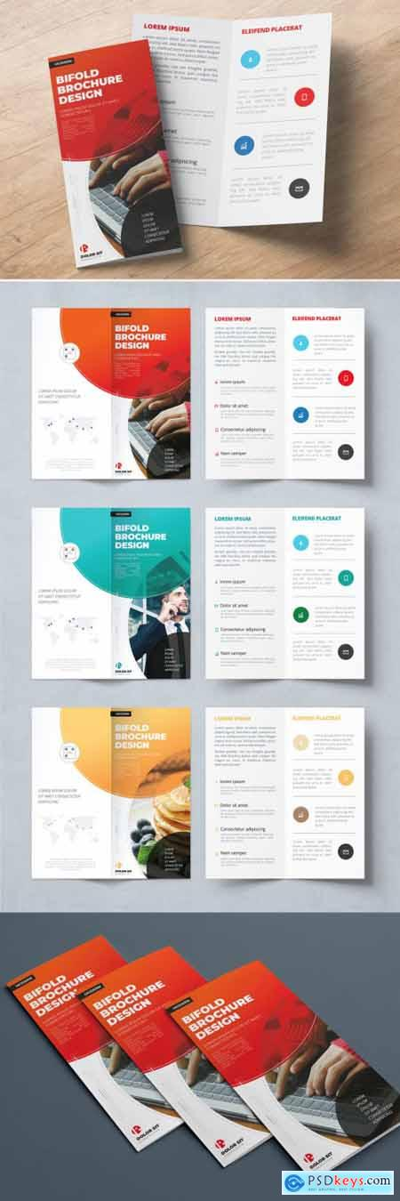 Red Bifold Brochure Layout with Abstract Circles 357915974