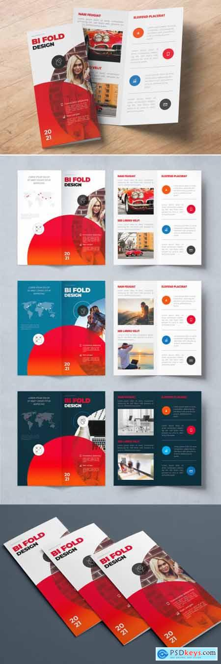 Red Bifold Brochure Layout with Circles 357915977
