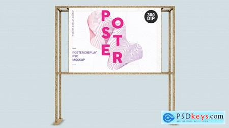 Horizontal poster display with wood frame Premium Psd