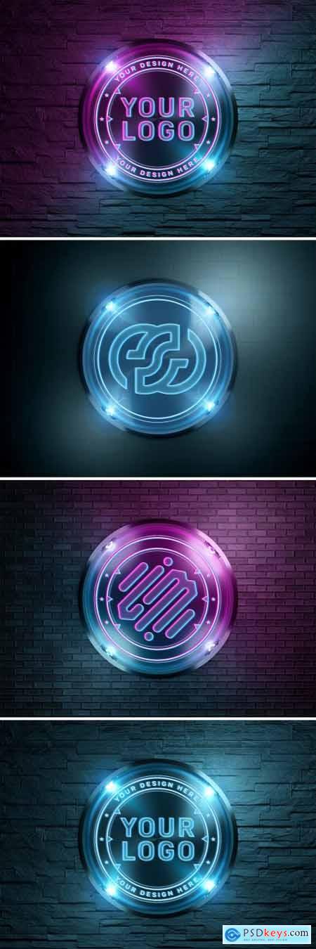 Neon Style Logo on Brick Wall Mockup 359760607