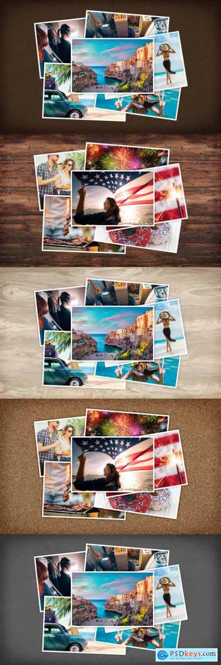 Instant Film Photos Collage Mockup