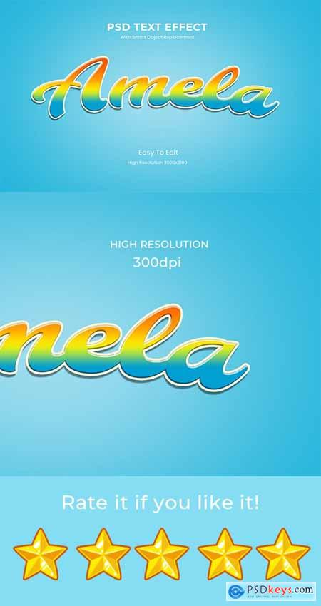Amela 3D game Logo Rainbow Text Effect 26999571