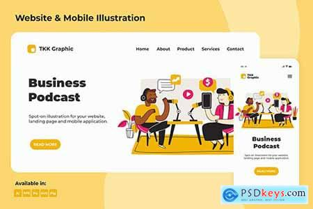 Business Podcast Landing page & Mobile design