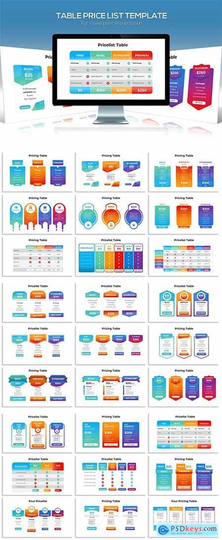 Table Price List for Powerpoint Template