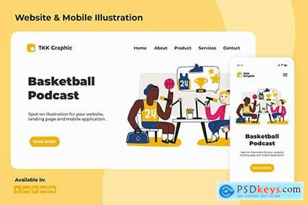 Basketball Podcast Landing page & Mobile design
