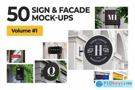 50 sign facade signboard logo mock 4821394