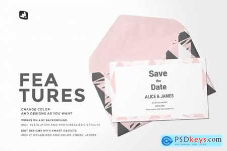 Rectangular Envelope & Card Mockup 4853404