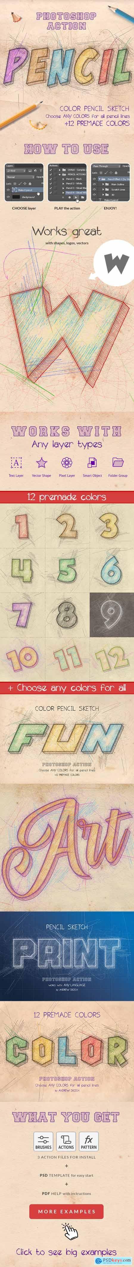 Color Pencil Sketch - Photoshop Actions 27194012