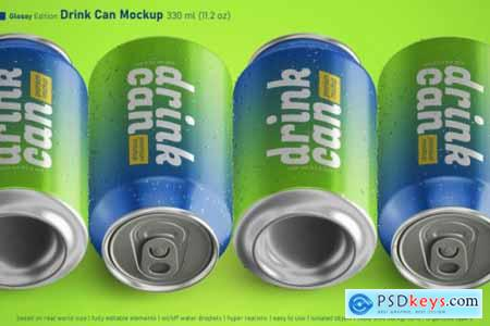 Editable realistic soda can 330ml premium mockup with water drops