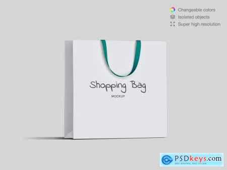 Realistic high angle shopping paper bags mockup