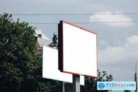 Billboard with blank surface for advertising mockup