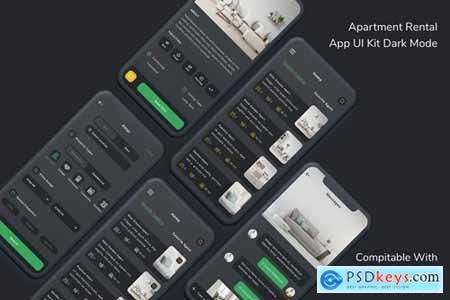 Apartment Rental App UI Kit Dark Mode