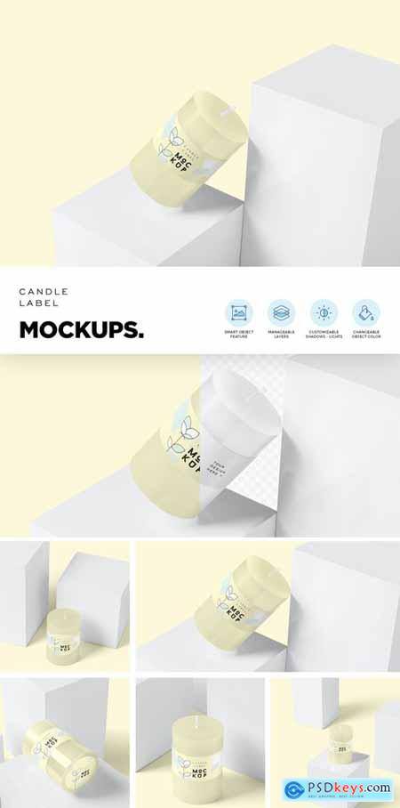 Small Round Candle Label Mockups 4646702