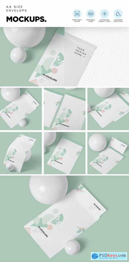 A4 Size Paper Envelope Mockups 4646680