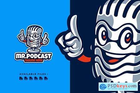 Mr Podcast Cartoon Logo